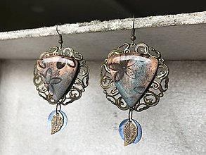 Náušnice - Filigránové visiace náušnice bronzovo - modré - 10609719_