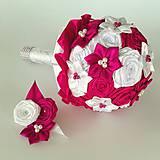Kytice pre nevestu - Kytica pre nevestu ružová Amarant - 10608436_