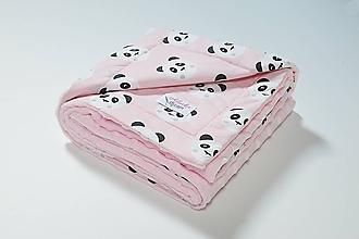 Textil - Minky ružová deka s pandami 70*100cm - 10608588_