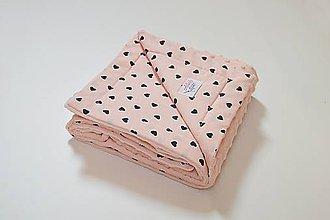 Textil - Minky deka marhuľová a marhuľová so srdiečkami 70*100cm - 10608589_