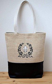 Veľké tašky - Taška z kože a plátna - 10609120_