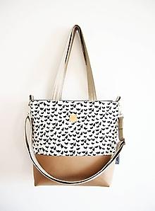 Veľké tašky - Veľká taška - čiernobiele tulipány s bledohnedou - 10608901_