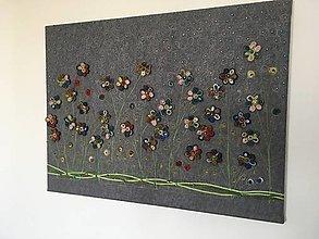 Obrazy - Lúka plná kvetov-plstený obraz - 10609126_