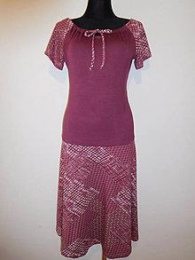 Šaty - Vínové s patchworkem - 10608835_