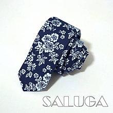 Doplnky - Slim tmavo modrá kravata - vzorovaná - kvetinová - 10609469_