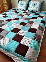 Úžitkový textil - Prehoz Tyrkys-Hnedá - 10607485_