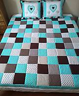 Úžitkový textil - Prehoz Tyrkys-Hnedá - 10607487_