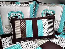 Úžitkový textil - Prehoz Tyrkys-Hnedá - 10607491_