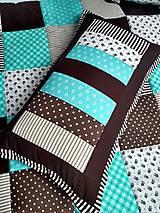 Úžitkový textil - Prehoz Tyrkys-Hnedá - 10607493_