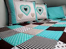Úžitkový textil - Prehoz Tyrkys-Hnedá - 10607496_