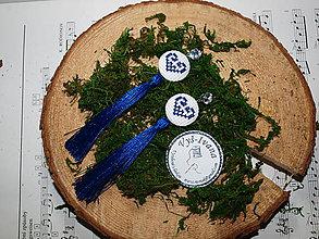 Náušnice - Vyšívané náušnice modré srdiečka - 10609600_
