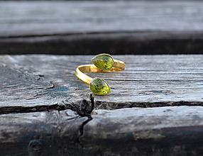 Prstene - Olivín pozlátený prsteň AG - 10608743_