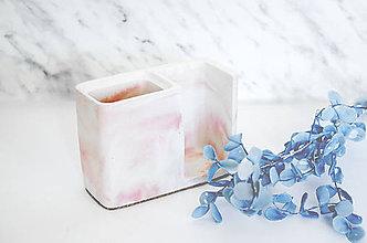 Nádoby - Betónový stojan na zubné kefky Balneo Marble (Ružová) - 10607396_