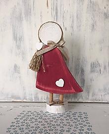 Dekorácie - Anjelik s copíkom (Červená) - 10607993_
