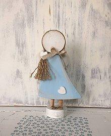 Dekorácie - Anjelik s copíkom (Modrá) - 10608005_