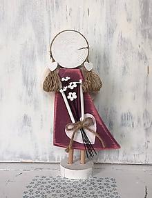 Dekorácie - Anjelik s kytičkou - vysoký (Bordová) - 10608105_