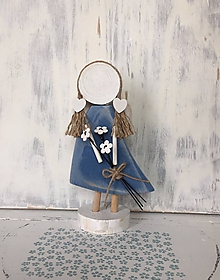 Dekorácie - Anjelik s kytičkou  (Modrá) - 10608140_