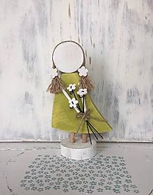 Dekorácie - Anjelik s kytičkou  (Zelená) - 10608142_