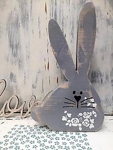 Dekorácie - Veľkonočný zajačik - 27 cm (Šedá) - 10609678_