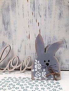 Dekorácie - Veľkonočný zajačik - 14 cm (Šedá) - 10609744_