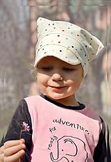Detské čiapky - Letná pružná šatka so šiltom Ivory dots - 10610036_
