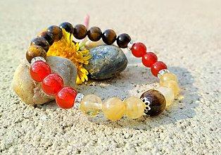 Náramky - Náramok z minerálnych kameňov dodávajúci silu, ochranu a šťastie - 10607332_
