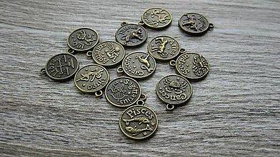 Komponenty - Prívesok znamenie zverokruhu mix 17 mm, 12 ks (bronz) - 10608467_