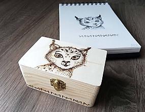 Krabičky - Box z prírodného dreva - Rys - 10608501_
