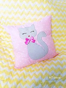 Textil - DETSKÝ VANKÚŠIK s mačičkou - 10607151_