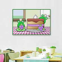 Grafika - Žabky kuchárky - grafika (čučoriedková torta) - 10608774_
