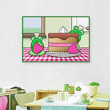 Grafika - Žabky kuchárky - grafika (malinová torta) - 10608777_