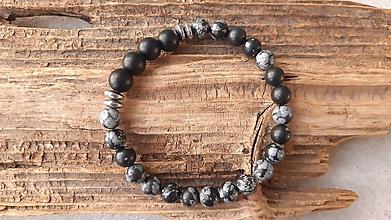 Šperky - Náramok obsidián a ónyx - 10611203_