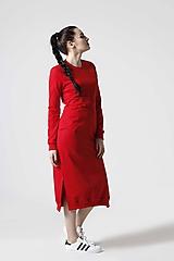 Šaty - Teplákové šaty červené - 10610400_