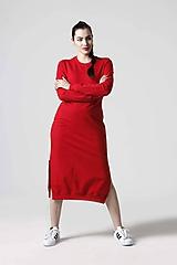 Šaty - Teplákové šaty červené - 10610401_