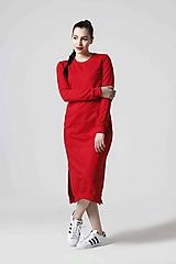Šaty - Teplákové šaty červené - 10610402_