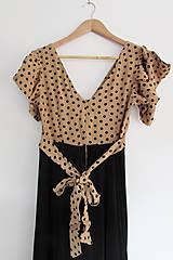 Šaty - Béžovo-čierne šaty UP - 10612661_
