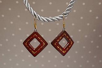 Náušnice - Keramické náušnice so zlatom - Káro (Káro štepované) - 10613225_