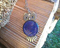 Náhrdelníky - Náhrdelník sova v kráľovskej modrej - 10610377_