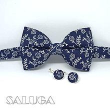 Doplnky - Pánsky modrý motýlik + náušnice - modrotlač - 10611373_