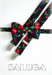 Doplnky - Čierny kvetinový motýlik a traky - pánsky set - folklórny - 10611437_