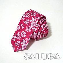 Doplnky - Slim cyklamenová kravata - vzorovaná - kvetinová - 10612779_