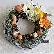 Dekorácie - Veľkonočný veniec - Prírodný lesný s vajíčkami. - 10612667_