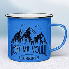 Nádoby - Modrý smaltovaný hrnček - 10613628_