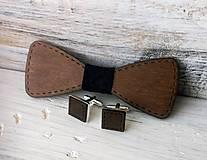 """Doplnky - Sada drevený motýlik """"Svadba"""" - tmavý - 10612145_"""