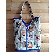 Veľké tašky - Prekrásna EKO TAŠKA KABELKA pre všetky ženy, teenegerky a dievčatá (Sovičková modrá, veľkosť XL) - 10613160_