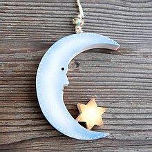 Dekorácie - Drevený Mesiac s Hviezdou - 10610502_