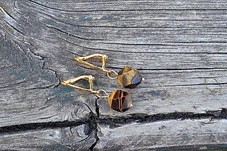 Náušnice - Tigrie Oko pozlátené klipsne Ag - 10610319_