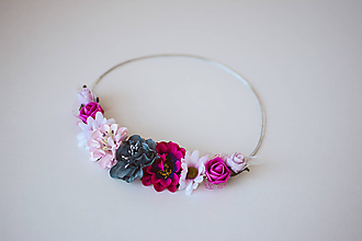 Ozdoby do vlasov - Ružová elastická čelenka s kvetinami - 10611363_