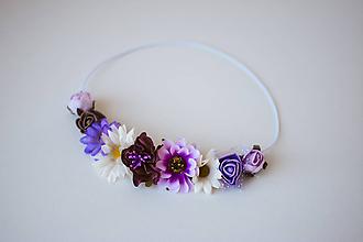 Ozdoby do vlasov - Fialová elastická čelenka s kvetinami - 10611371_