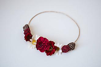 Ozdoby do vlasov - Červená elastická čelenka s kvetinami - 10611377_